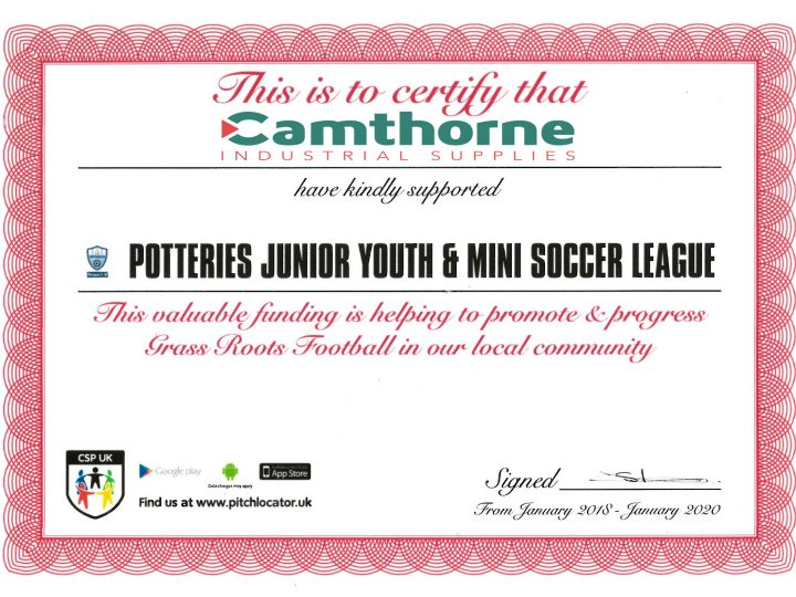 Camthorne supports Potteries Junior Youth & Mini Soccer league